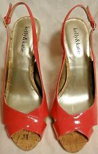 BNWOB! SIZE 9M, KELLY & KATIE, PINK SYNTHETIC SLINGBACKS, CORK PLATFORM & HEELS