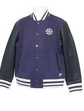NEW NIKE Mens NSW VARSITY Style Leather Sleeved Bomber Jacket Black and Purple M