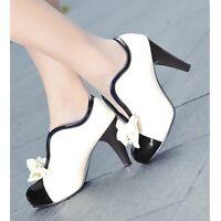 Womens Chic Bowknot High Heel Stilettos Platform Pumps Shoes Slip On Dress Shoes