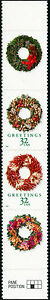 """#3252f """"32¢ GREETINGS -WREATHS"""" RED & GREEN OMITTED MAJOR ERROR HV3062"""