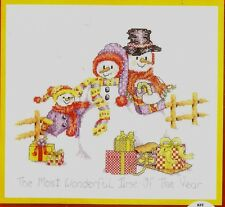 "New Bobbie G. Designs ""Snow Family"" Snowmen Christmas Counted Cross Stitch Kit"