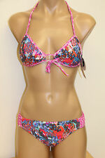 NWT Island Soul Swimsuit Bikini 2pc set Push up Bra Sz L Bery