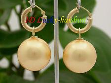 AAA Dangle big 20mm golden yellow round sea shell pearls Earrings 14K hoop j8664