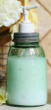 Recycled Glass Midget Pint Mason's 1858 Fruit  Jar Soap Lotion Dispenser