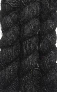 1 Quality Black Recycled Soft Silk Sari Knitting Woven Yarn 100 Grams