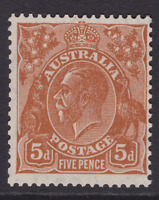 AUSTRALIA KGV 5d Orange-Brown Die II CofA WMK MINT/MUH SG 130 (LD78)