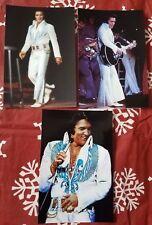 Elvis Presley 3 Photo Set: White Jumpsuit-Light Blue/Aqua Phoenix Design (1974)