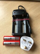 2 X 18650 4200mAh Ultrafire 3.7v Rechargeable Battery Twin Charger Fused Uk Plug