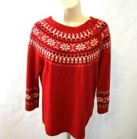 Talbots Lambs Wool Blend Sweater Size Medium Petite Christmas Red Poinsettia