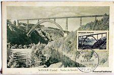 France Carte Maximum  1952 VIADUC DE GARABIT SAINT FLOUR   Yt 928