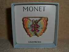 Monet Pastel Butterfly Collectible Keepsake Trinket Box Comes with Original Box