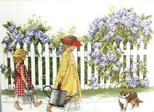Elsa Williams THE GARDENERS Cross Stitch Kit  02162 Heide Presse Girls Flowers
