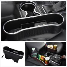 Dual USB Charging Box Storage Box Organizer ABS Fit For Car Left/Right Seat Gap
