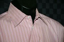 Eton men's dress shirt 15 42 red stripe slim fit contemporary French cuffs
