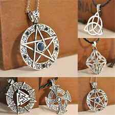 Retro Cool Pentagram Star Celtic Knot Cross Metal Silver Pendant Choker Necklace