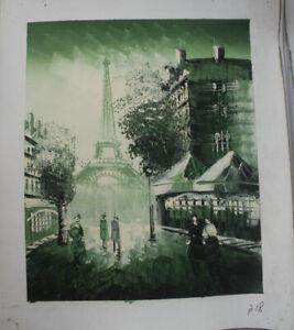 Hand Painted Landscape Oil Painting Paris Street Scene Eiffel Tower Wall Art B18