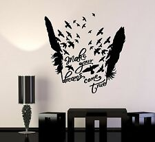 Vinyl Wall Decal Birds Feathers Motivational Words Dream Stickers (1009ig)