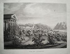 Lausanne Schweiz Genfersee seltene echte Aquatinta-Radierung 1840