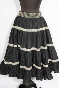 "VINTAGE 1950'S-1960'S  BLACK & WHITE TIERED COTTON CIRCLE SKIRT  28""-32""  WAIST"