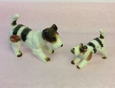 2 Miniatures Fox Terriers Dogs Figurines Bone China Japan Tagged Collectible