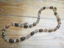 Pretty Glass Bead & Agate  Necklace/Multicoloured/Hippy/Boho/Natural Stone