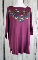 Jessica London Sweater Top Pullover Embroidered Flower Elbow Sleeve Size 14/16
