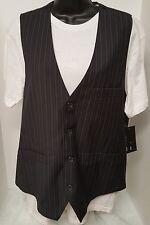 Point Zero NWT Men's Black/White/Blue Striped Design 2pc Vest/Shirt Size M