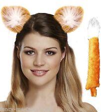 Ladies Orange Fox Animal Hen Do Halloween Fancy Dress Costume Outfit Kit
