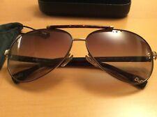 Dolce & Gabbana D&G Aviator Sunglasses. Gold & Metal Frames, Brown Fade Lens.