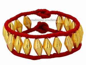 22K 22C YELLOW GOLD ANKLET DHOLAKI DESIGN TRIBAL BELLY DANCE INDIAN FOLK JEWELRY