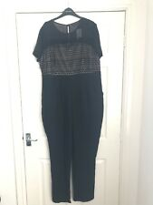 Dorothy Perkins Black Jumpsuit With Lace Design Size 20 BNWT