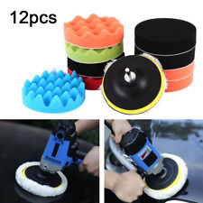 12Pcs 5'' 125mm Waxing Buffing Polishing Sponge Pads Car Polisher Drill Adapter