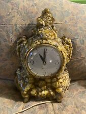 Vintage 1950s Lucite Electric Clock Lanshire Movement Vomit Resin Clear As-Is