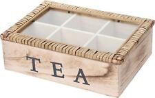 Vintage Style Colonial en bois à 6 compartiments sachet de thé poitrine