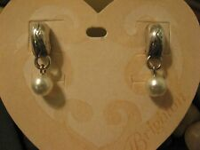 Brighton CALYPSO Huggie Post WITH CUSTOM PEARL Drop Silver Earrings ~ NEW!
