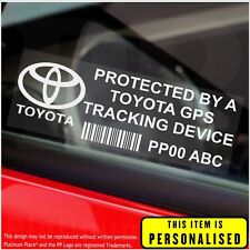 4 x Toyota PERSONALISED GPS Tracking Device-Stickers-Car,Security,Alarm,Safety