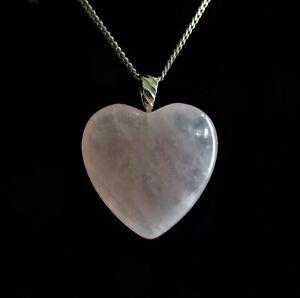 STERLING SILVER ROSE QUARTZ HEART SHAPE PENDANT NECKLACE 925 5.29g (20735)