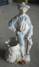 """Vintage German Bisque Young Man with Cane Figural Planter 6 1/4"""" Tall"""