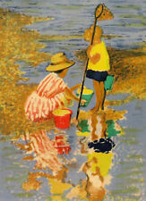 Seascape Print Children Beach/Pond Charles McCall Numbered Serigraph Mat w/Glass