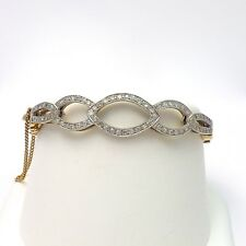 Vintage 14k Two Tone Gold 1.5ctw Pave' Diamond Open Link Hinged Bangle Bracelet