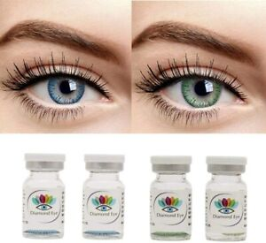Blue and Green Color yearly Contact Lens 0 Power with case and solution