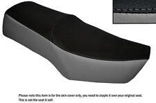 Negro Y Gris personalizado se adapta a Suzuki Gn 250 87-96 Cuero Doble cubierta de asiento solamente