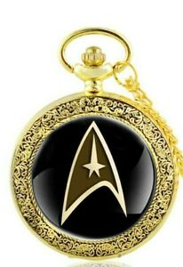 star trek black and gold pocket watch with gift box