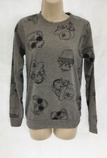 New H Henry Holland Cat Print Grey Long Sleeve Sweater Jumper Top UK 18 DD26
