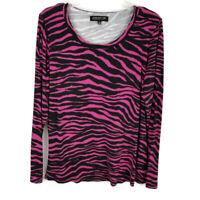 Jones New York women 1X blouse black pink zebra long sleeve shirt stretch soft