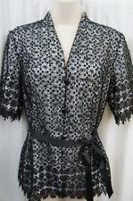 Alex Evenings Blouse Sz M Black White Lace 3 Button Formal Evening Top W/ Sash