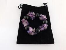 Amethyst Onyx Bead Stretch Bracelet With Original Pouch
