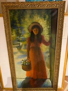 School of Henri Martin pointillist painting Young Girl w Flowers signed Martin