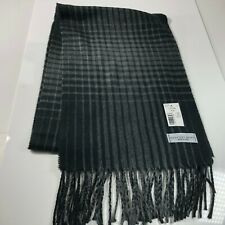 "GEOFFREY BEENE Warm Soft Black Gray Plaid Scarf 64"" X 11"" Made in Italy Oversize"