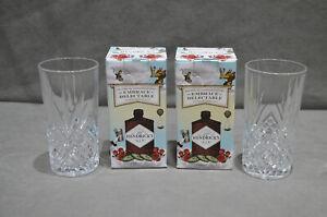 Pair Of (2) Hendrick's Gin Highball Crystal Cut Glass Tumbler New In Gift Box